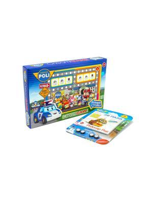 Настольная игра Робокар Поли Большая стройка с 3D пазлом-конструктором в комплекте. Robocar Poli. Цвет: синий, зеленый, розовый
