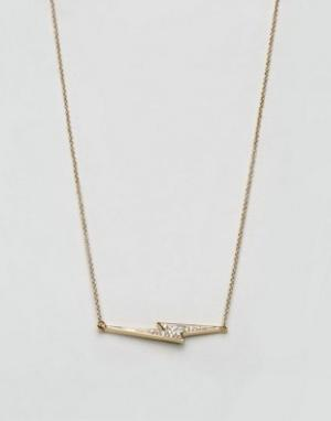 Cc Skye Ожерелье с подвеской-молнией Love. Цвет: золотой