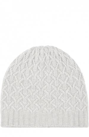 Кашемировая шапка с фактурным узором Johnstons Of Elgin. Цвет: светло-серый