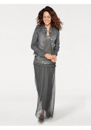 Джинсовая куртка Linea Tesini. Цвет: графитный, розовый