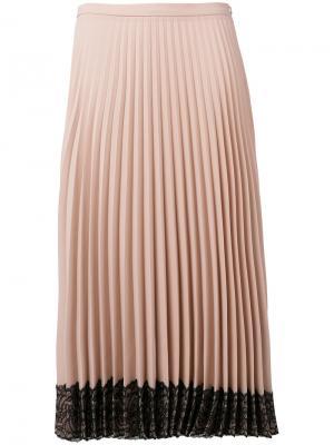 Плиссированная юбка с кружевным подолом Red Valentino. Цвет: розовый и фиолетовый