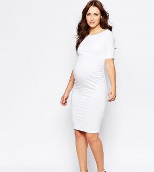 ASOS Maternity Платье бардо для беременных с укороченными рукавами TAL. Цвет: белый