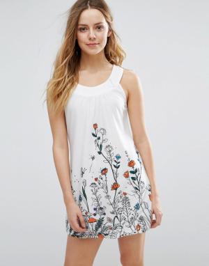 Jasmine Цельнокройное платье с цветочным принтом. Цвет: белый