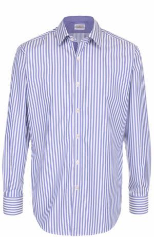 Хлопковая рубашка с воротником кент Canali. Цвет: синий