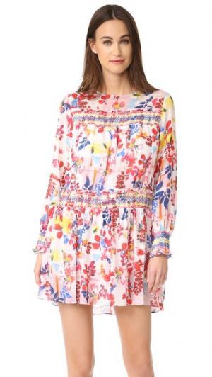 Платье Hailey с ярким цветочным рисунком Tanya Taylor. Цвет: белый мульти