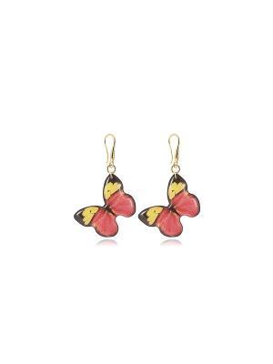 Серьги Красные бабочки, Dragon Porter. Цвет: красный