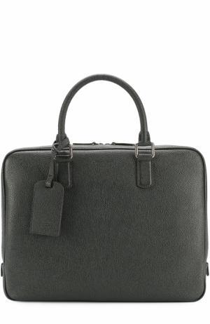 Кожаная сумка для ноутбука Giorgio Armani. Цвет: зеленый