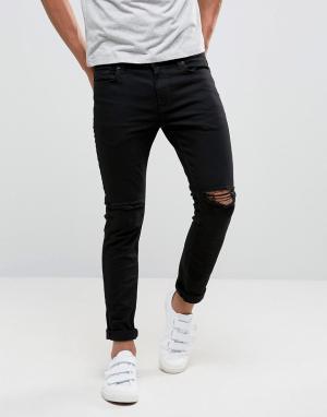 River Island Черные рваные джинсы скинни. Цвет: черный