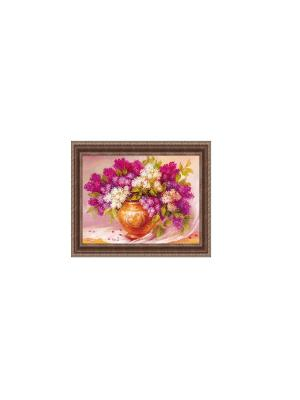 Натюрморт с сиренью В339 Картина в раме 25х35 PROFFI. Цвет: сиреневый, светло-коричневый, белый