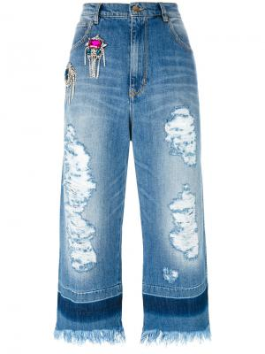 Crystal embellished cropped raw jeans Marco Bologna. Цвет: синий