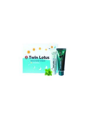 Твин Лотус Дневная и Ночная зубная паста с натуральными травами 180 гр. Twin Lotus. Цвет: белый, голубой