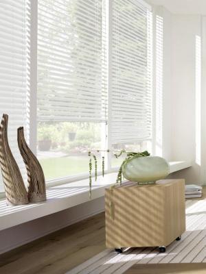 Жалюзи пластиковые горизонтальные, белый, размер: 120х160 Эскар. Цвет: белый