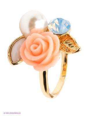 Кольцо Lovely Jewelry. Цвет: голубой, розовый, золотистый