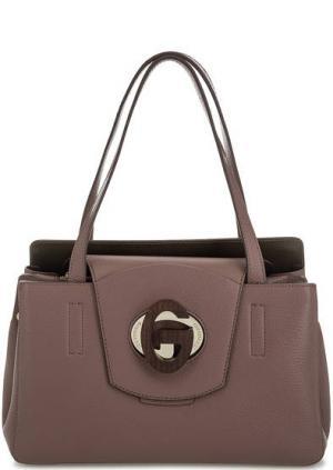 Кожаная сумка с откидным клапаном Gironacci. Цвет: сиреневый