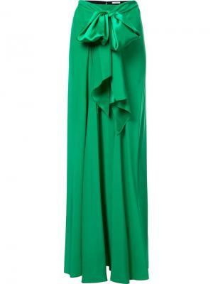 Юбка Charmeuse Long Bow Front Tome. Цвет: зелёный