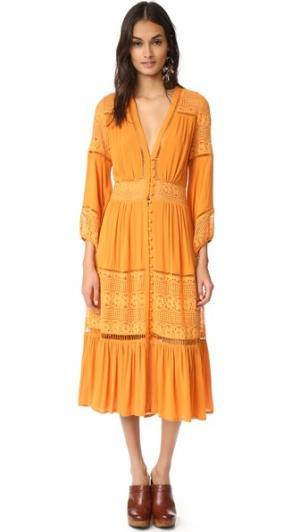 Миди-платье Olivia из роскошного кружева SPELL. Цвет: клен