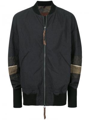 Куртка-бомбер  с контрастными вставками на рукавах Ziggy Chen. Цвет: чёрный