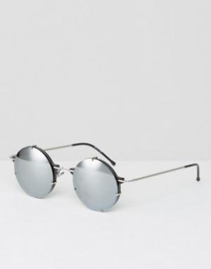 Spitfire Круглые солнцезащитные очки с серебристыми зеркальными стеклами Spitfi. Цвет: черный