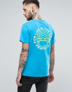 Penfield Синяя футболка с принтом на спине Emblem. Цвет: синий