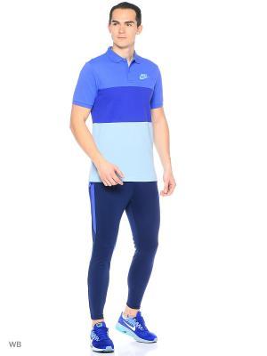 Футболка-поло M NSW POLO PQ MATCHUP CLRBLK Nike. Цвет: синий