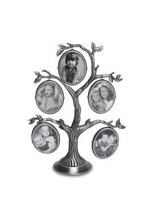 Фоторамка Семейное Дерево на 5 фото Bellezza casa. Цвет: серебристый