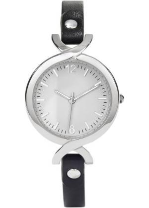 Часы на узком браслете (черный) bonprix. Цвет: черный