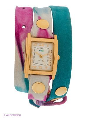 Часы La Mer Collections. Цвет: голубой, фуксия, золотистый, белый