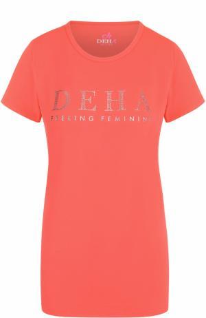 Спортивная футболка с контрастной отделкой Deha. Цвет: розовый