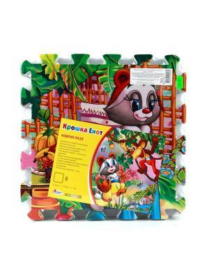 Коврик-пазл играем вместе крошка енот 8 сегментов, каждый 31.5*31.5см. Цвет: серый, зеленый