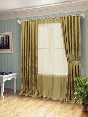 Комплект штор с тюлем SANPA HOME COLLECTION. Цвет: золотистый
