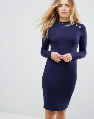 Brave Soul Платье с длинными рукавами и золотистыми пуговицами. Цвет: синий