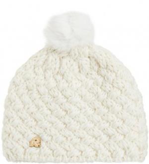 Вязаная шапка с помпоном молочного цвета R.Mountain. Цвет: молочный