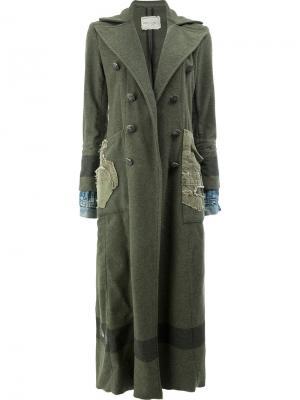 Двубортное пальто Greg Lauren. Цвет: зелёный