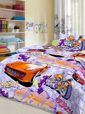Детский комплект постельного Граффити, фиолетовый, 1,5-спальный, наволочка 50*70, хлопок Letto. Цвет: фиолетовый, оранжевый