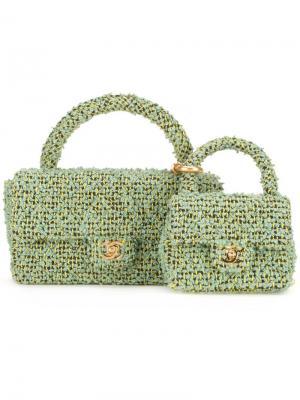 Комплект из двух сумок CC Chanel Vintage. Цвет: зелёный