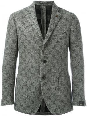 Клетчатый пиджак Gabriele Pasini. Цвет: серый