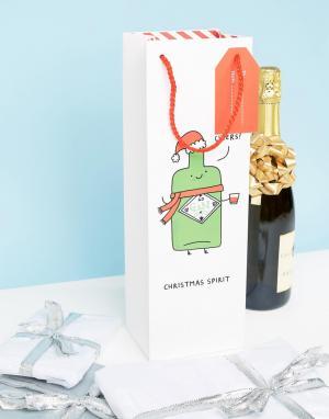 OHH DEER Новогодний подарочный пакет для бутылки вина с надписью. Цвет: мульти