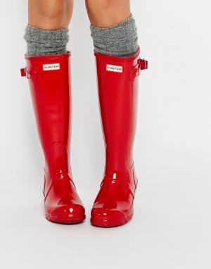 Hunter Красные резиновые сапоги Original. Цвет: красный