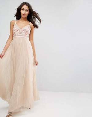 Needle & Thread Платье макси из тюля с вышивкой Prarie. Цвет: розовый