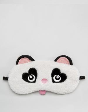Loungeable Маска для глаз в виде панды. Цвет: черный