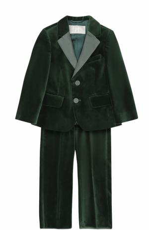 Хлопковый костюм с пиджаком на двух пуговицах Il Gufo. Цвет: зеленый