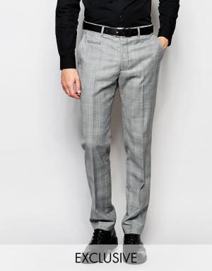 Number Eight Savile Row Эксклюзивные зауженные брюки с рисунком в клетку принц Уэльский. Цвет: серый