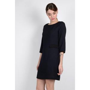 Платье однотонное прямого и короткого покроя с рукавами 3/4 MOLLY BRACKEN. Цвет: темно-синий