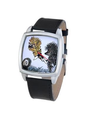 Часы Mitya Veselkov Ежик с листочком. Цвет: черный