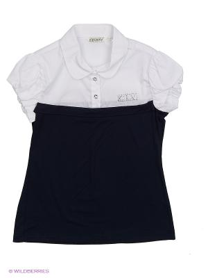 Блузка Cleverly. Цвет: синий, белый