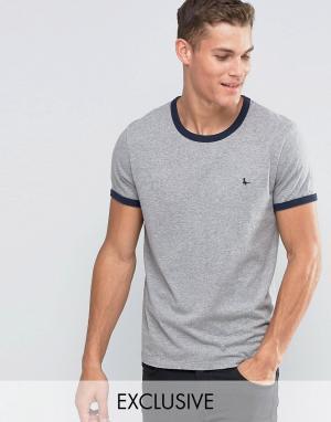 Jack Wills Серая футболка классического кроя Ringer. Цвет: серый