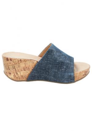Шлепанцы Andrea Conti. Цвет: джинсовый синий, коньячный, серебристый