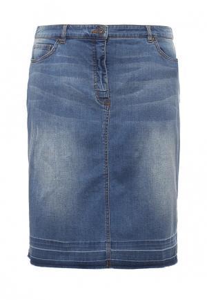 Юбка джинсовая Ulla Popken. Цвет: синий