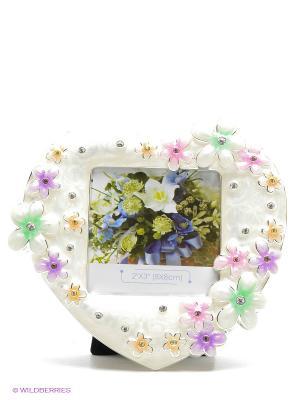 Фоторамка металлическая со стразами,в форме сердца, украшенная цветами формата 8х8см PLATINUM quality. Цвет: молочный