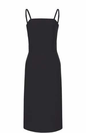 Приталенное платье-миди на тонких бретельках Balenciaga. Цвет: черный